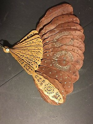 Antique Rare Silk Fabric Carved Wood Fan 1899 St Louis Prophets Ball