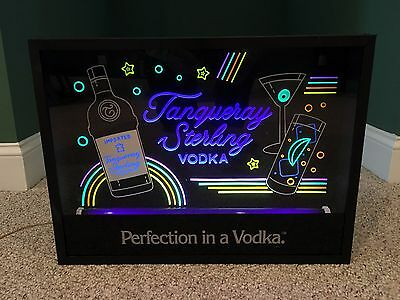 Rare Vintage Tanqueray Sterling Vodka Liquor - Neon Light up Bar Box - Local PU