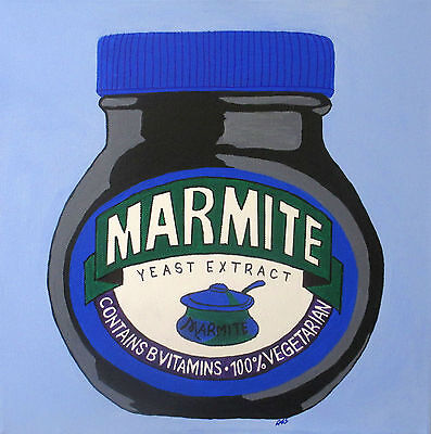 Light Blue Jar Of Marmite - Art Original Painting - Acrylic On Canvas