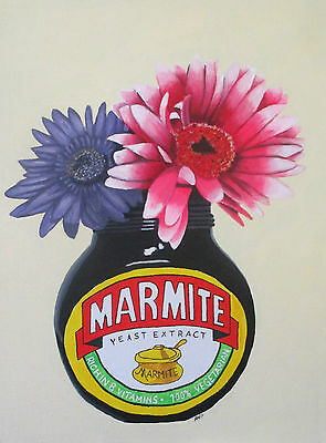Flowers In Marmite Vase - Art Original Painting - Acrylic On Canvas