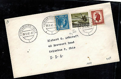 1947 Luxembourg Cover to USA Multi Franking