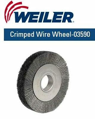 """WEILER 8"""", Face Crimped Wire Wheel, .0118"""" Stainless, Fill, 2"""" Arbor Hole 03590"""