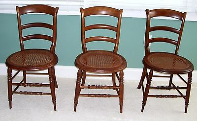 Wood Chairs Cane Seat Ladder Back Antique 3 Matching