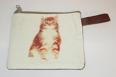 "Orange Cat Makeup Bag Tabby Stripes Leather Strap New Zippered 4"" x 6"" Kitten"