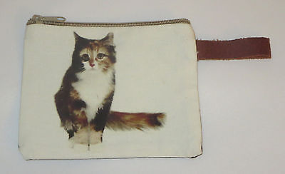 "Calico Cat Makeup Bag Leather Strap New Zippered 4"" x 6"" Kitten Orange White Blk"