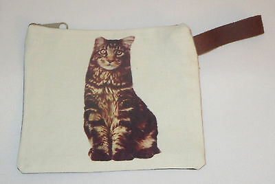 "Striped Cat Makeup Bag Tabby Leather Strap New Zippered 4"" x 6"" Kitten Kitty Gry"