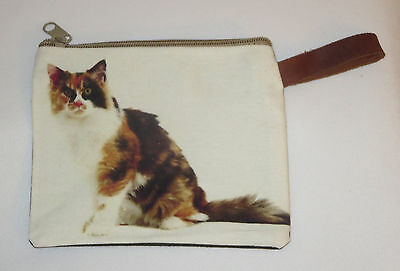 "Calico Cat Makeup Bag Leather Strap New Zippered 4"" x 6"" Kitten Kitty Pets"