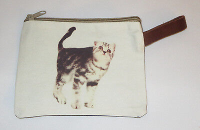 "Gray White Cat Makeup Bag Leather Strap New Zippered 4"" x 6"" Kitten Kitty Stripe"