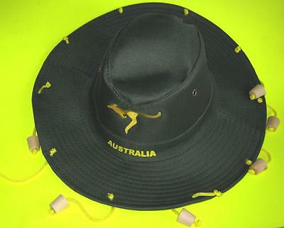 Traditional Aussie Swaggie Swagmans Hat Dark Green Dangling Corks NEW
