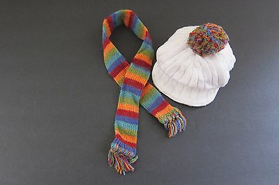 American Girl Julie's Casual Outfit Knit PomPom Cap and Striped Scarf 2007