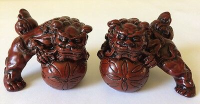Pair Of Asian/Chinese Red Resin Small Foo Dogs-Excellent