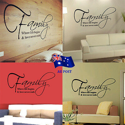 DIY Home Family Love Quote Decor Removable Decal Room Wall Sticker Vinyl Art ON
