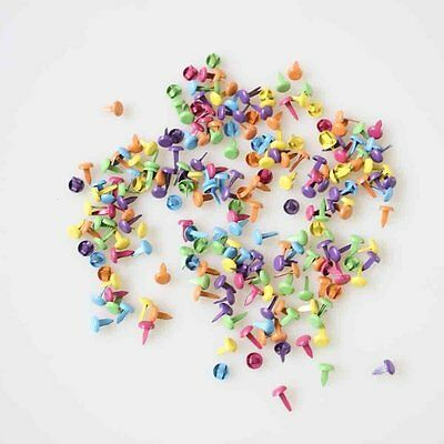 200pcs Mixed Color Metal Brads Paper Fastener for Scrapbooking Craft 8mm,bright