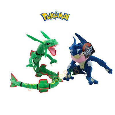 "Pokemon Center 12"" Greninja/Gekoga and Rayquaza Plush Stuffed Toy Set of 2"