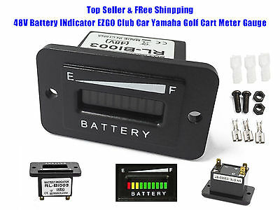 48 Volt Golf Cart Club Car EZGO Yamaha Battery Status Meter Indicator 48V - HEX
