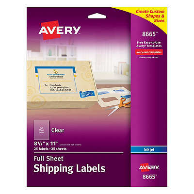 """Avery Clear Full-Sheet Shipping Labels for Inkjet Printers 8-1/2"""" x 11"""", Pack of"""