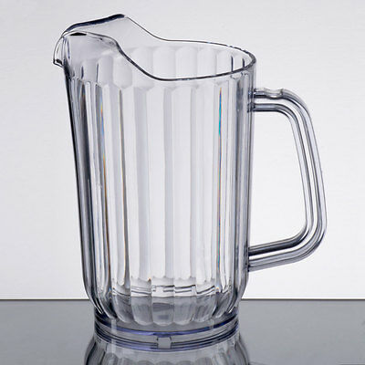 Lot of 6 - 32 oz. Clear Plastic Round Restaurant Beverage Pitchers 69032SAN