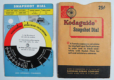 Kodaguide Snapshot Dial, Eastman Kodak Exposure Calculator, Photography
