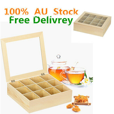 12 Compartment Wooden Tea Chest Glass Top Caddy Container Tea Bag Storage Box