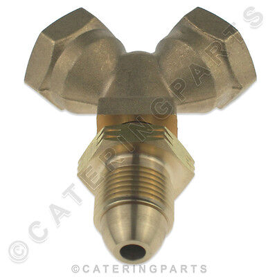 NEW DUAL OUTLET BOTTLE CONNECTOR PIECE POL MALE TO 2 x FEMALE PROPANE CYLINDER