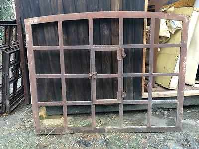 Large Vintage Iron Arched Industrial Cast Iron Metal Window Frame (3 available)
