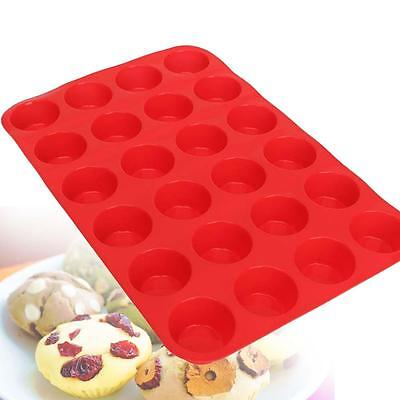 24 Cavity Mini Muffin Cup Silicone Cookie Cupcake Bakeware Pan Soap Tray Mold Ca