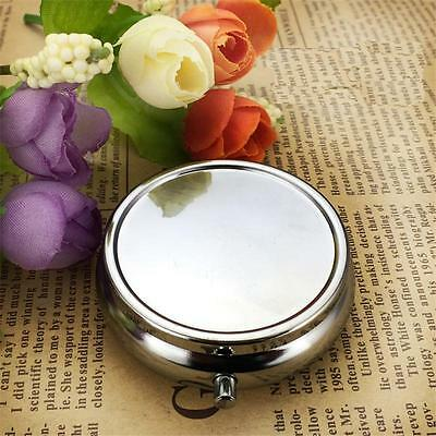 Metal Round Pill Boxes Outdoor Travel Container Medicine Case Pill Case YAa