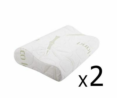New Set Of 2 Bamboo Fabric Cover Contour Memory Foam Pillow 50 X 30 Cm Bedroom