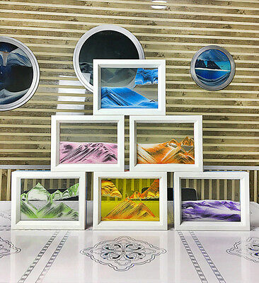 """7.3x5.7"""" Framed Moving Sand Time Glass Picture Home Office Desk Decor Craft Gift"""