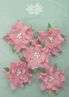 GARDENIA Flowers & Leaves PINK Mulberry Paper 5 Pk 50-55mm across Green Tara A