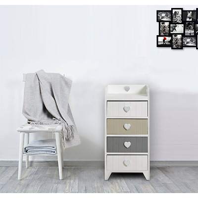 Chest of Drawers 4 Drawers LOVE White Beige Grey Heart Shabby Chic Bedroom
