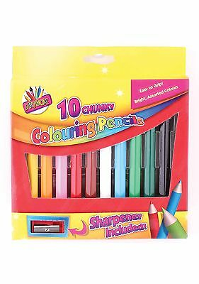 10 Chunky Colouring Pencils Bright Assorted Colours Easy Grip + Sharpener 1084