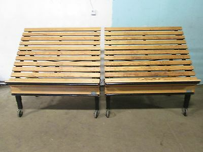 "Lot Of 2 ""cms"" Commercial Mobile Wooden Bakery/produce Merchandiser Display Rack"
