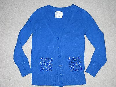 Girls Size 10 JUSTICE Sparkly Blue Cardigan Sweater EUC