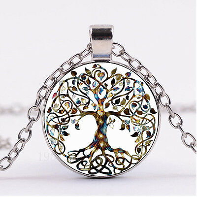 NEW Cabochon Glass necklace Silver woman pendants(celtic Tree of life)