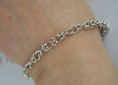 Hallmarked 925 Sterling Silver Chain Maille Ladies Bracelet with Lobster Clasp