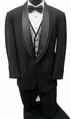 Black Oscar de la Renta One Button Satin Shawl Lapel Tuxedo Jacket Wedding Prom