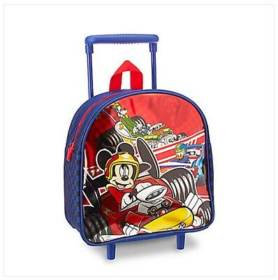New Disney Store Mickey Mouse Roadsters Small Rolling Wheel Luggage Bag Handle