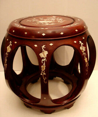 "13 1/4"" H Vintage Chinese Rosewood W/ Mop Inlaid Stool / Stand  / Table"