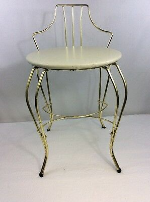 Vintage Bathroom Vanity Chair Boudoir Mid Century Hollywood Regency Brass Plate