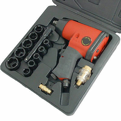 Pro 17 Piece Air Impact Wrench Gun Compressor + Sockets Set Kit 1/2Inch Drive