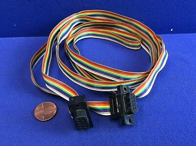 "9-CONDUCTOR FLAT RIBBON CABLE WITH 9-PIN SUB MINIATURE CONNECTORS 72""Long"