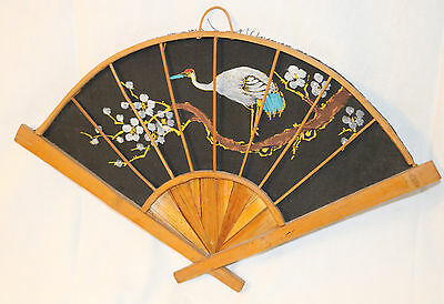 Vintage Antique Genuine Silk & Bamboo Hand Painted Fan With Cranes For Use / Art