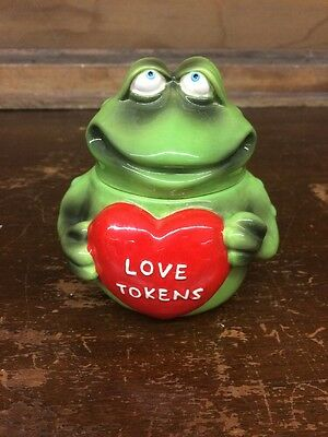 Russ Berrie Green Shaped Frog Holding Red Love Tokens Heart Canister/Any Use Jar