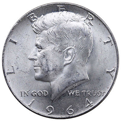 1964 Kennedy Half Dollar 90% Silver About Uncirculated AU