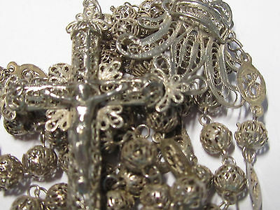 † MID 1800s SCARCE ANTIQUE COLONIAL SOLID 800 STERLING FILIGREE ROSARY ROSARIO †