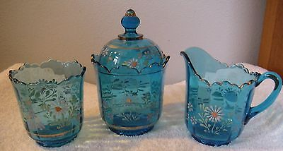 VINTAGE SUGAR & CREAMER & CANDY DISH BLUE GLASS  Enamel Painted Gold Trim