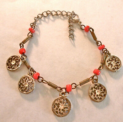Old 5 Silver Charms Discs Bracelet Red Beads Israeli Old Jerusalem Boho Gypsy