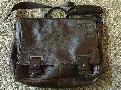 Banana Republic Distressed Brown Leather Messenger Briefcase Laptop Satchel Bag