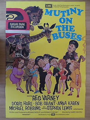 MUTINY ON THE BUSES (1972) - original UK 1 sheet film/movie poster,Hammer comedy